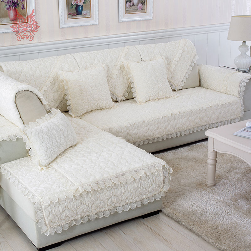 popular sofa debuy cheap sofa de lots from china sofa de  - modern rose floral quilted plush sofa cover fur sectional slipcovers canapefurniture covers fundas de sofa