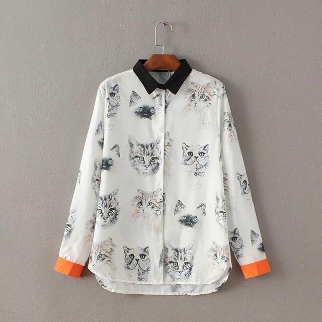 Cat Printing Women Tops Black Orange Hit Color Chiffon Shirt Sleeves Female Fresh Sweet Tops T-shirt