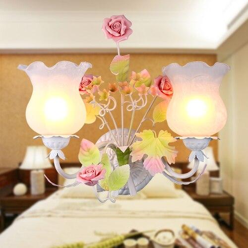 European Pastoral style Korean wrought iron wall lamp light pink rose flower bedroom dining room lamp