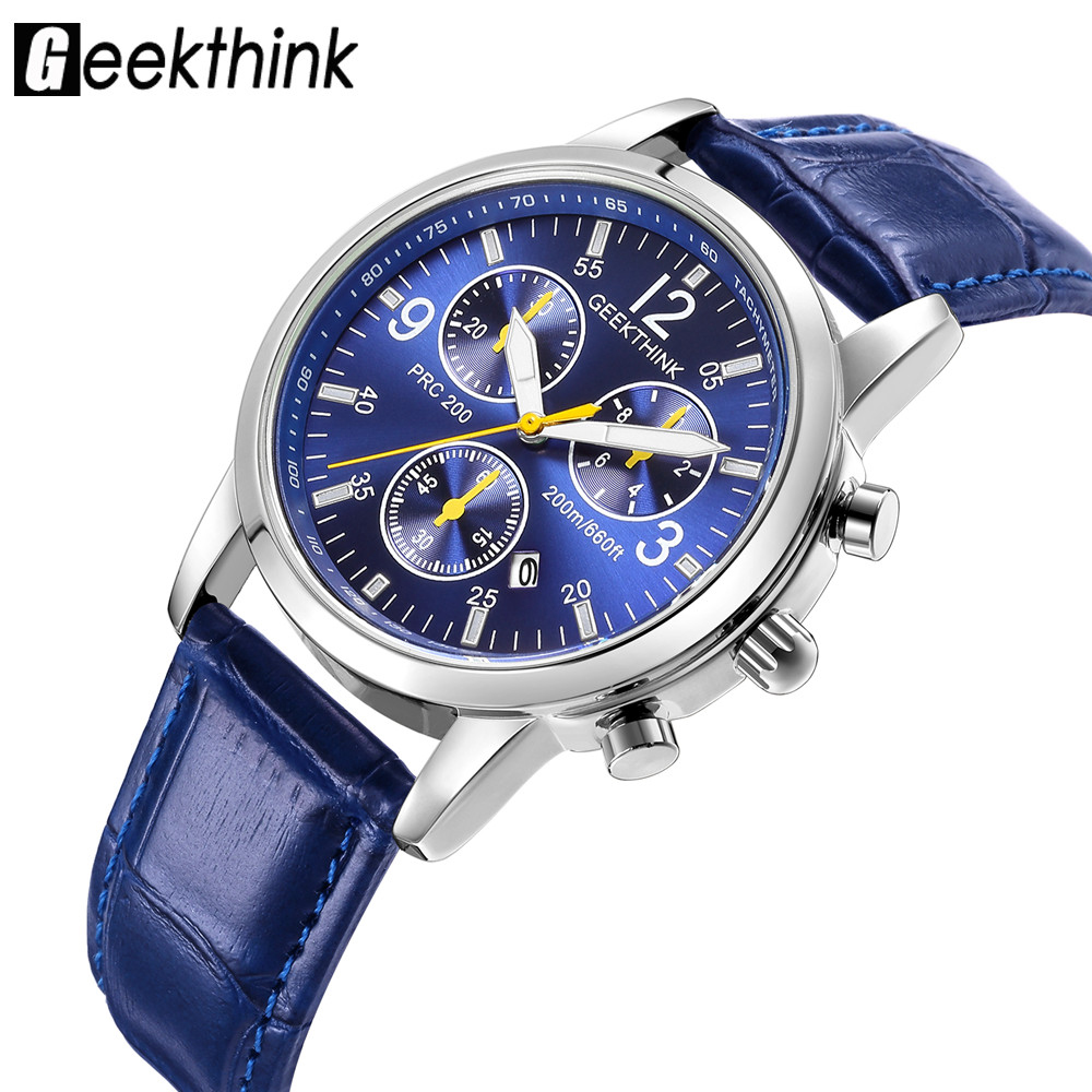 GEEKTHINK Luminous Men Watch Luxury Top Brand business Male Clock Quartz-WristWatch Leisure Fashion Leather quartz watch Relogio meibo brand fashion women hollow flower wristwatch luxury leather strap quartz watch relogio feminino drop shipping gift 2012