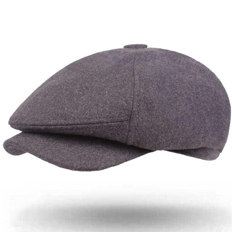 848af2e76f794 ... HT1904 New Autumn Winter Wool Felt Cap Retro Beret Hats for Men Vintage Male  Newsboy Caps ...