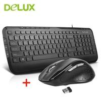 Delux KA160 M620G Escritório mouse Sem Fio Teclado Com Fio Teclado de Digitação Com função multimídia Ratos Use Para O jogo de PC de Escritório