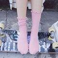 Babados doces cor meias meias de algodão das mulheres 2016 outono inverno meninas estilo preppy fresco simples meias de algodão das mulheres das mulheres do vintage