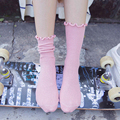 ruffles candy color socks women 2016 autumn winter cotton socks girls preppy style fresh simple cotton socks women vintage women