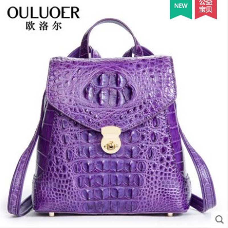 где купить ouluoer Crocodile leather double shoulder bag female new large capacity real leather bag of European and American fashion luxury по лучшей цене