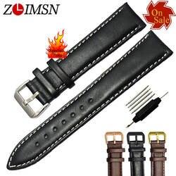 ZLIMSN 12 14 16 мм 23 мм пояса из натуральной кожи Смотреть Band чёрный; коричневый гладкой ремешок ремень Нержавеющая сталь Пряжка продвижение