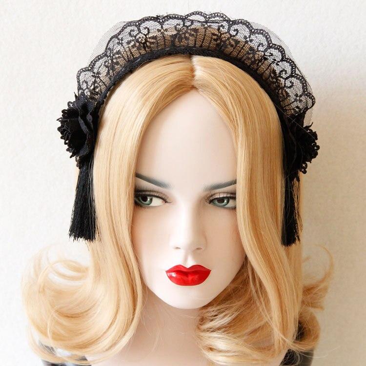 fashion party maid hair accessories black lace veil gemstone flower crown headband for women halloween party club bar hairband 4