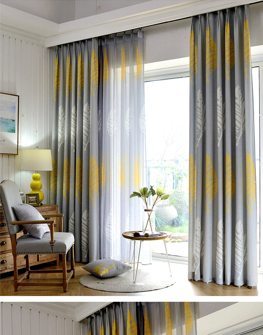 2019 Modern Curtain Living Room Bedroom Shade Leaf Drapes For Hotel Curtains Leaves Gray Yellow Custom Made Home Noren Axy8015 From Aldrichy 32 15