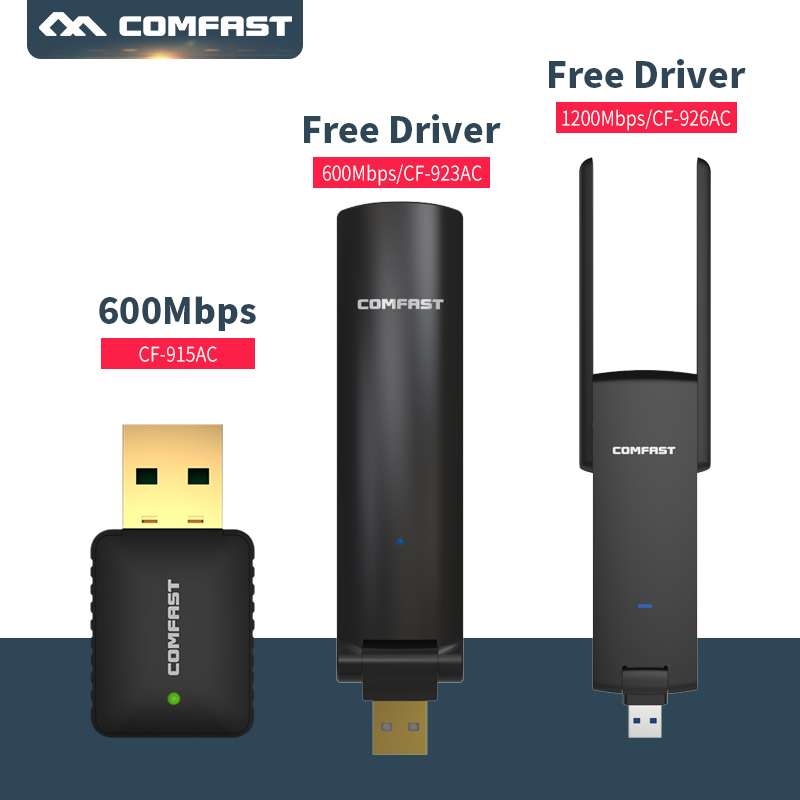 COMFAST Usb Wifi Adapter 600mbps USB2.0 -1200mbps Free Driver 2.4Ghz +5 Ghz Dual-Band Wi-fi Adapter AC Wifi Dongle Network Card