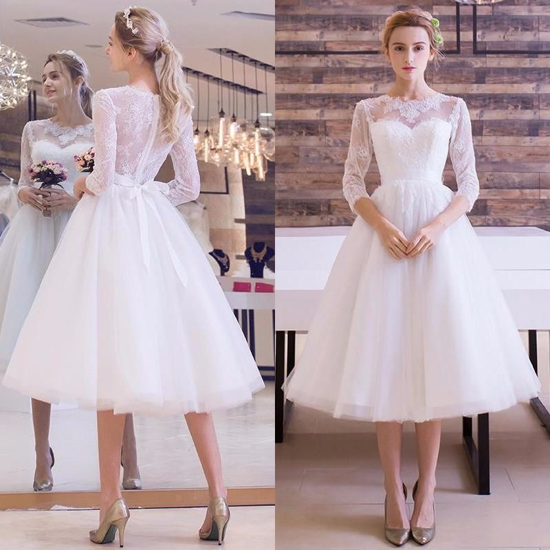 74612aa6b3ea4 US $118.43 29% OFF|White Informal Short Wedding Dresses 2019 With 3/4  Sleeves A line Sheer Back Sexy Knee Length Women Reception Gowns Boho  Custom-in ...