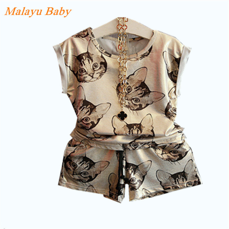 Malayu Baby brand 2017 summer new girl short-sleeved cartoon suit, cat printing T-shirt and shorts two sports suit