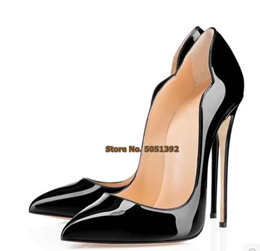 Office Classic Pumps Shallow Women Super High Heel Pointed Toe Patent Leather Sexy Plus Size Banquet Shoes Female Stiletto
