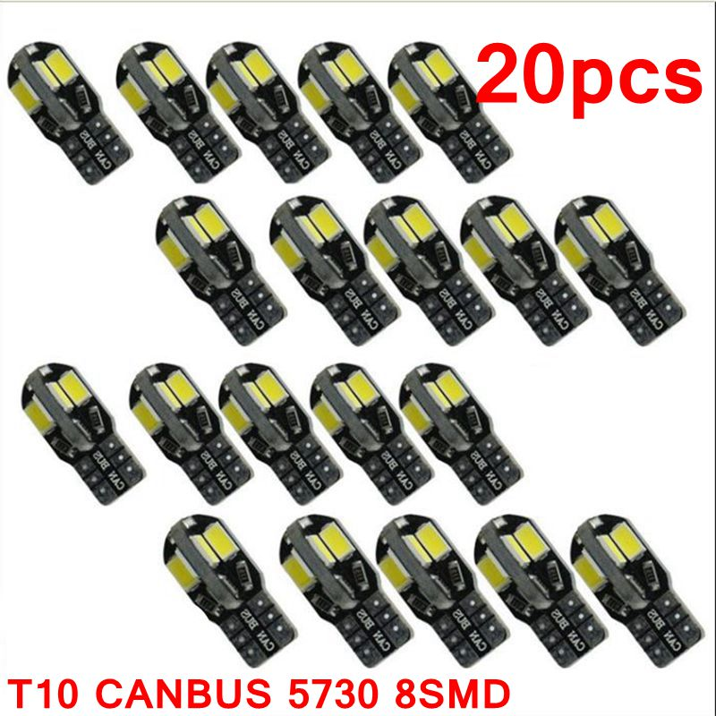 20PCS led Car Interior Bulb Canbus Error Free T10 White 5730 8SMD LED 12V Car Side Wedge Light White Lamp Auto Bulb Car Styling 10pcs led car interior bulb canbus error free t10 white 5730 8smd led 12v car side wedge light white lamp auto bulb car styling