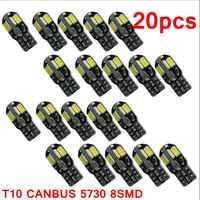 20 piezas led Bombilla Interior para coche Canbus sin Error T10 blanco 5730 8SMD LED 12V cuña lateral del coche lámpara blanca Auto bombilla estilo Coche
