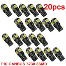 20 STUKS led Auto-interieur Lamp Canbus Fout Gratis T10 Wit 5730 8SMD LED 12V Auto Side Wedge Light witte Lamp Auto Lamp Auto Styling(China)