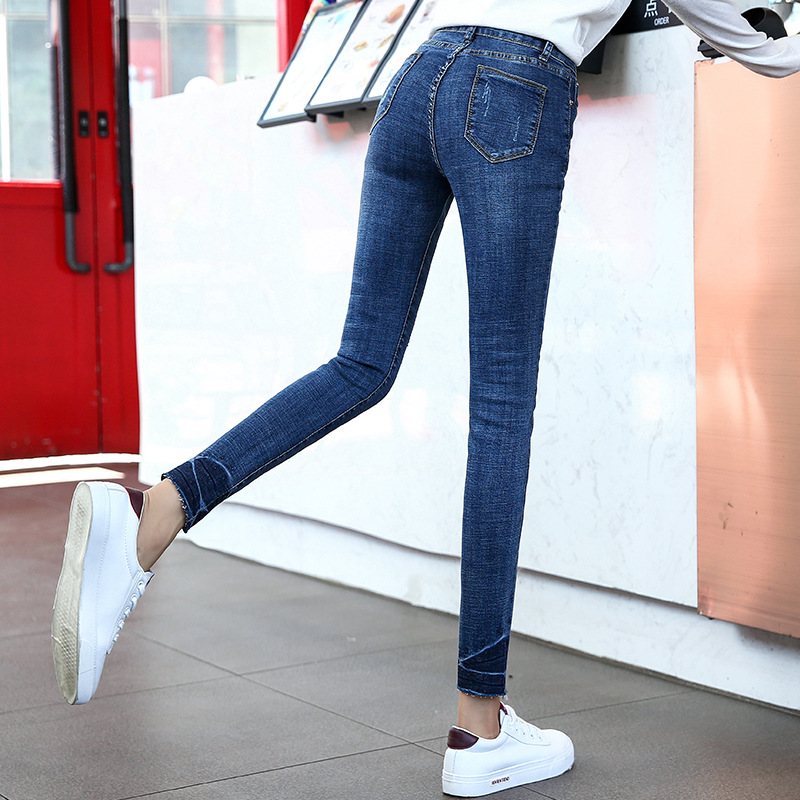 DN 2018 New Fashion   Jeans   Women Pencil Pants High Waist vintage Slim Denim Clothing 2018 Vintage Bell Bottom   Jeans   1AF201-212