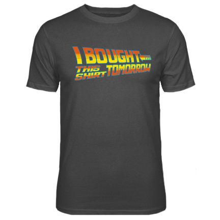 Mens Tomorrow Back To The Future Parody T shirt NEW S XXL T Shirt Short Sleeve Men O Neck Tee Shirt free shipping in T Shirts from Men 39 s Clothing