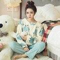 La moda de invierno ropa de dormir cómoda pijama mujeres engrosamiento de coral polar pijamas de franela conjunto de salón camisón caliente