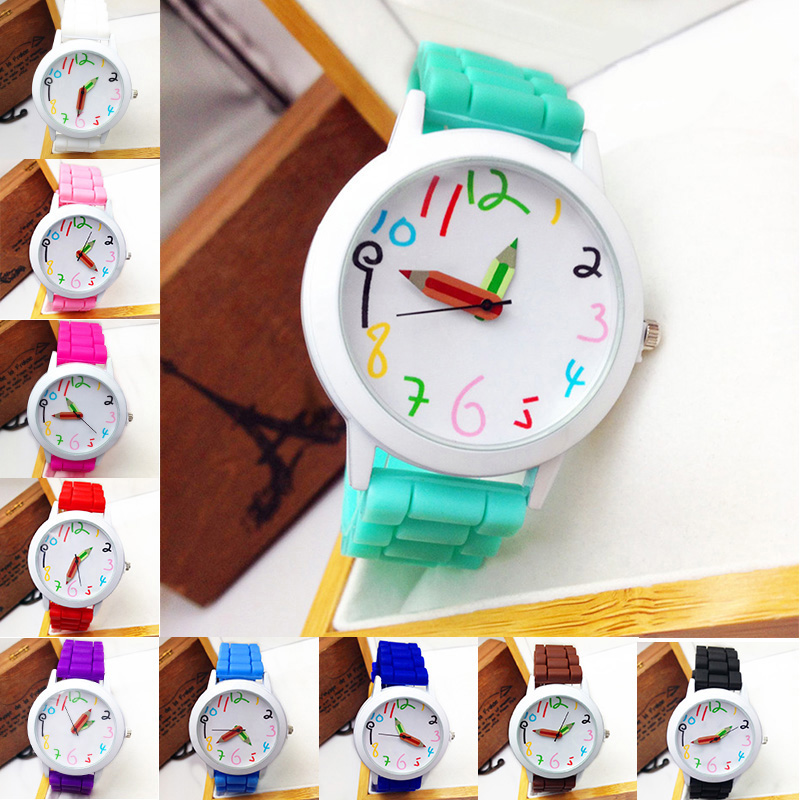 Children Wrist Watches Intelligent Digital Fashion Kids Watches Pencil Pointer Quartz Boys Girl\'S Students All-Match Watch