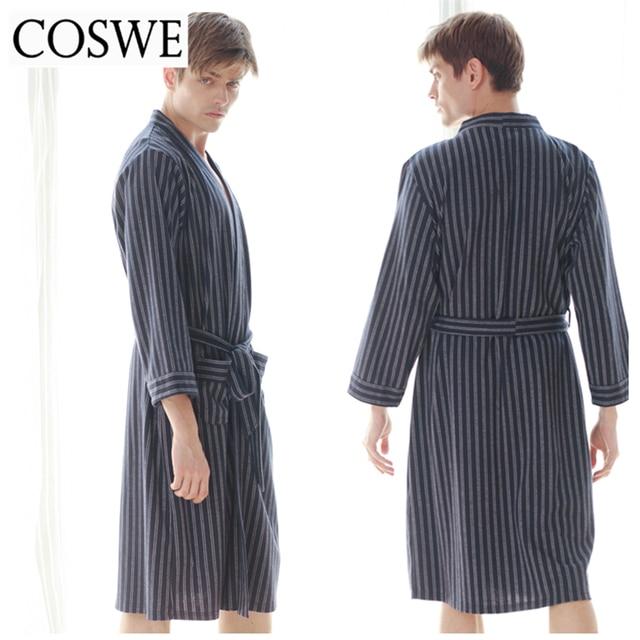 dbae2b5668 COSWE Winter New Men Cotton Robes For Mens Bathrobes Male Pijamas Masculinos  Striped Robe Gown Comfortable Bathrobe Homewear