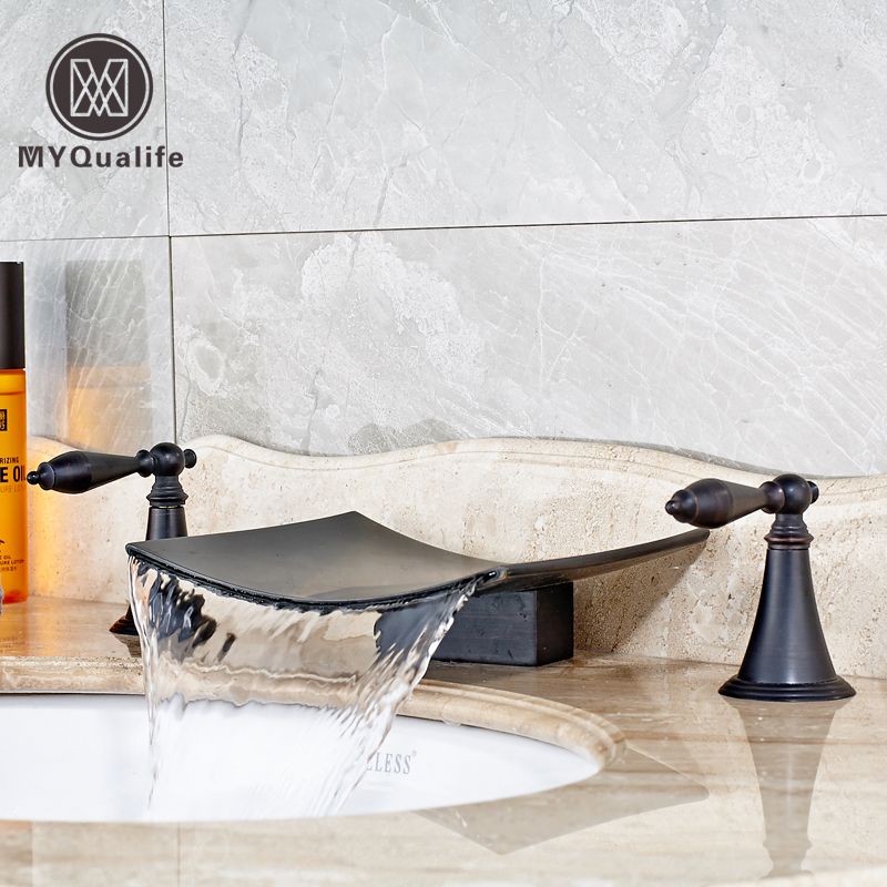 Luxury Wide Waterfall Spout Bathroom Sink Basin Mixer Faucet Two Handles Widespread Black Lavatory Sink Faucet new oil rubbed bronze wide waterfall spout bathroom sink basin mixer faucet two handles widespread lavatory sink faucet