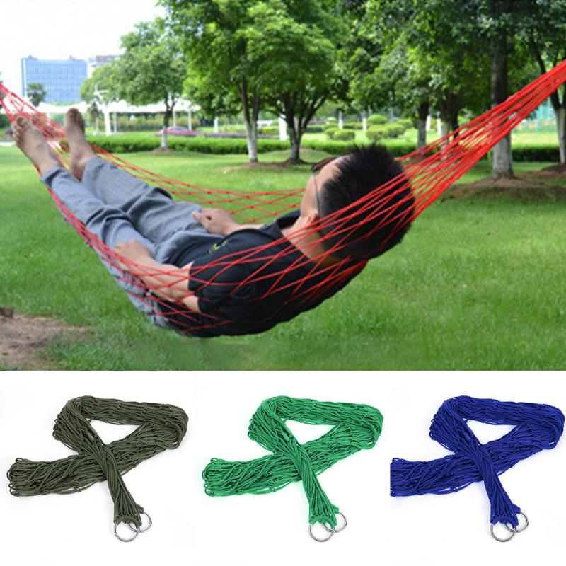 240*80cm Outdoor Hammock 9 Strands Nylon Rope Mesh Hammock Portable Leisure Swing Hanging Nap Bed hammock hanging tent portable nylon hammock