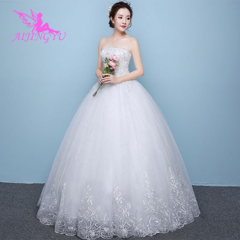AIJINGYU 2018 Bridal Free Shipping New Hot Selling Cheap Ball Gown Lace Up Back Formal Bride Dresses Wedding Dress WK450