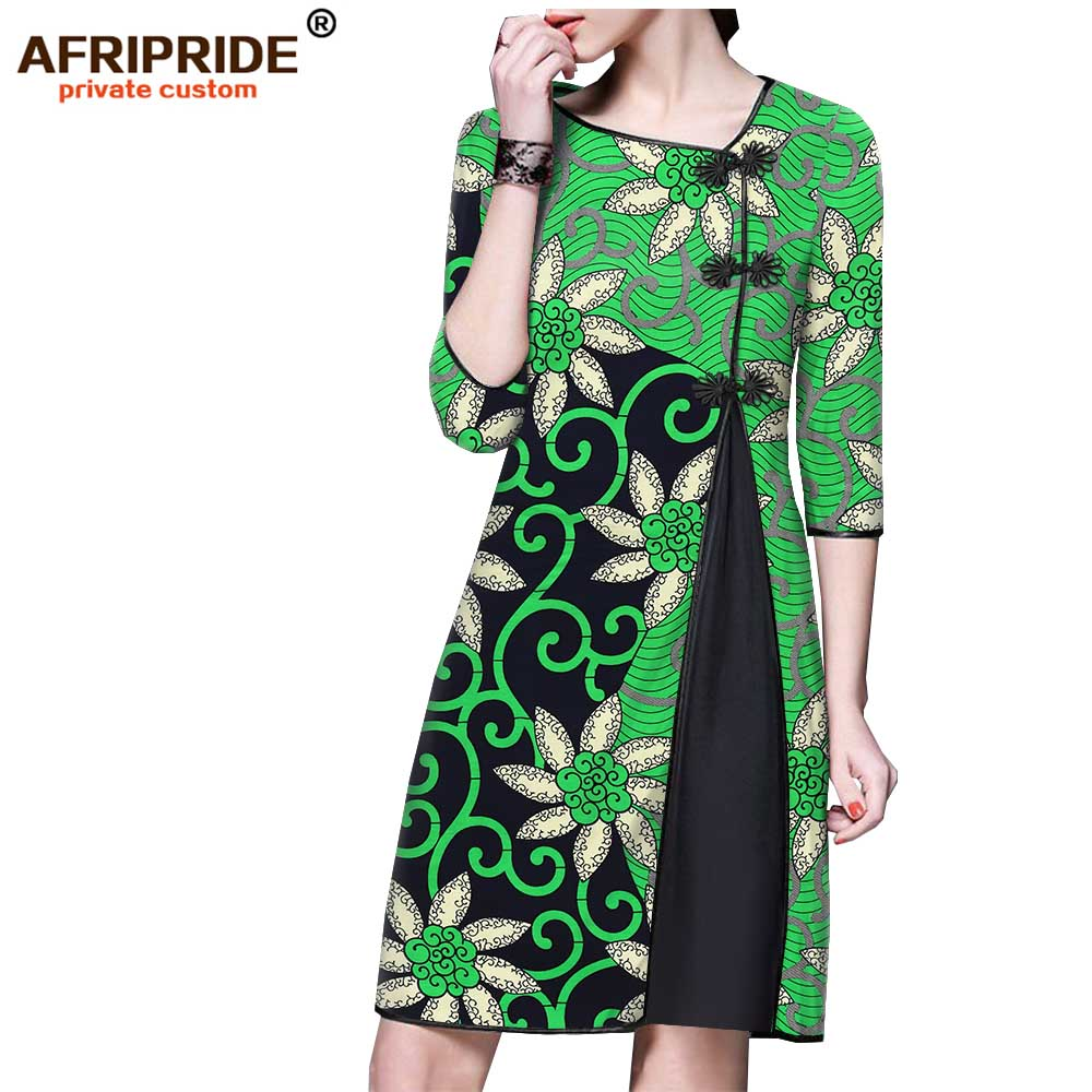 2019 africa dashiki batik robe pour femmes AFRIPRIDE bazin richi demi manches genou longueur femmes tenue décontractée avec boutons A1825108