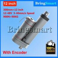Bringsmart Hot L TGA Y 300mm 12 Inch electric linear actuator with Encoder 900N 90KG load 12 48V Tubular Motor Stroke