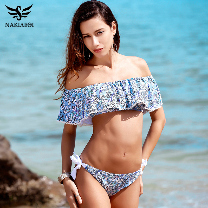 NAKIAEOI 2017 Sexy Bandeau Bikinis Women Swimsuit Push Up Swimwear Brazilian Bikini Set Beach Bathing Suit Swim Wear Biquini bikinis women swimsuit push up swimwear women 2017 new sexy bandeau print brazilian bikini set beach wear bathing suits biquini
