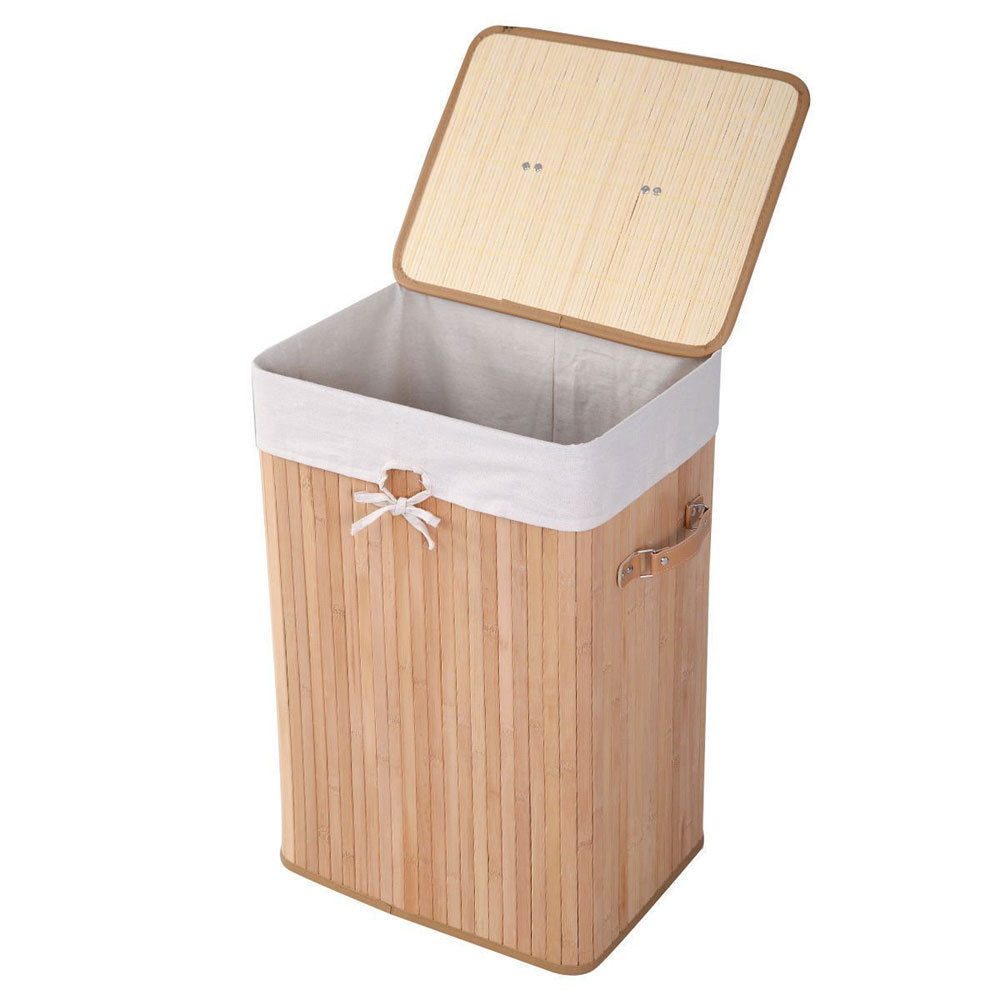 Laundry Basket Bamboo Hamper Dirty Clothes Wash Storage Box Sorter Bin with Lid