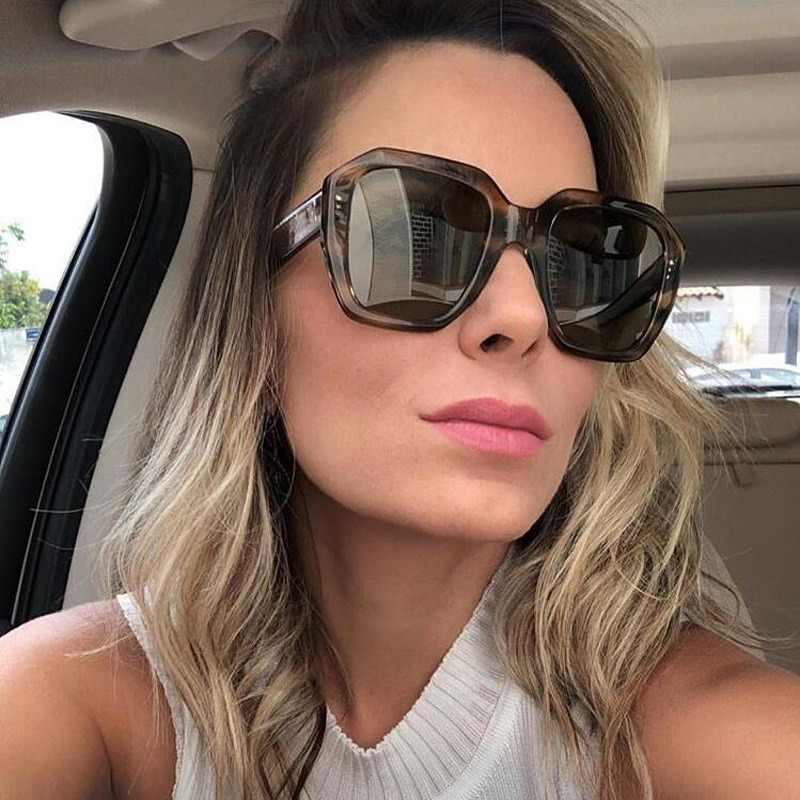 dcd2255cea Oversized Square Sunglasses Women Luxury Brand Designer Ladies Big Sunglass  Men Leopard Eyewear Womens Shades Sun