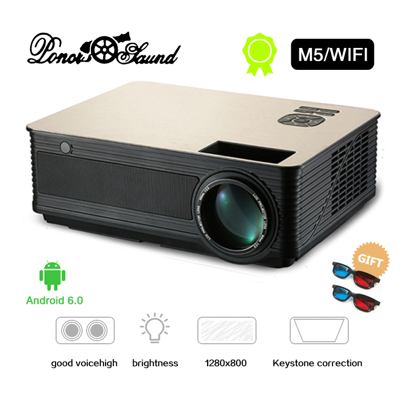 PonerSaund M5 M5S Full HD LED Projector 4500Lumens Double HIFI speakers Optional Android6 0 WiFi Bluetooth