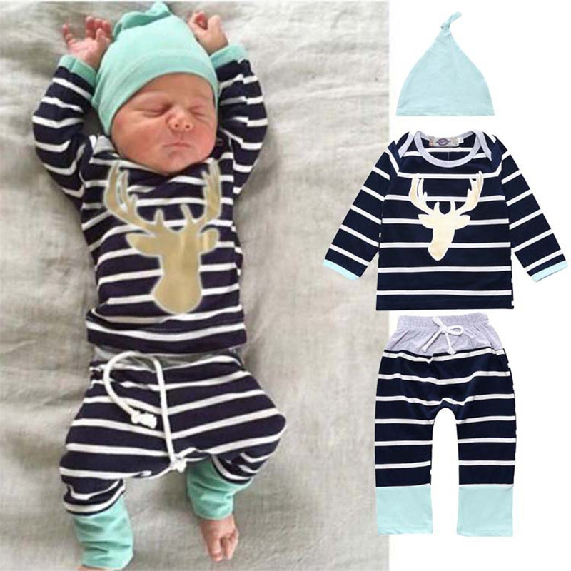 ⑤Free Shipping Baby Boy Clothing Set Gold Deer Head Stripes ...