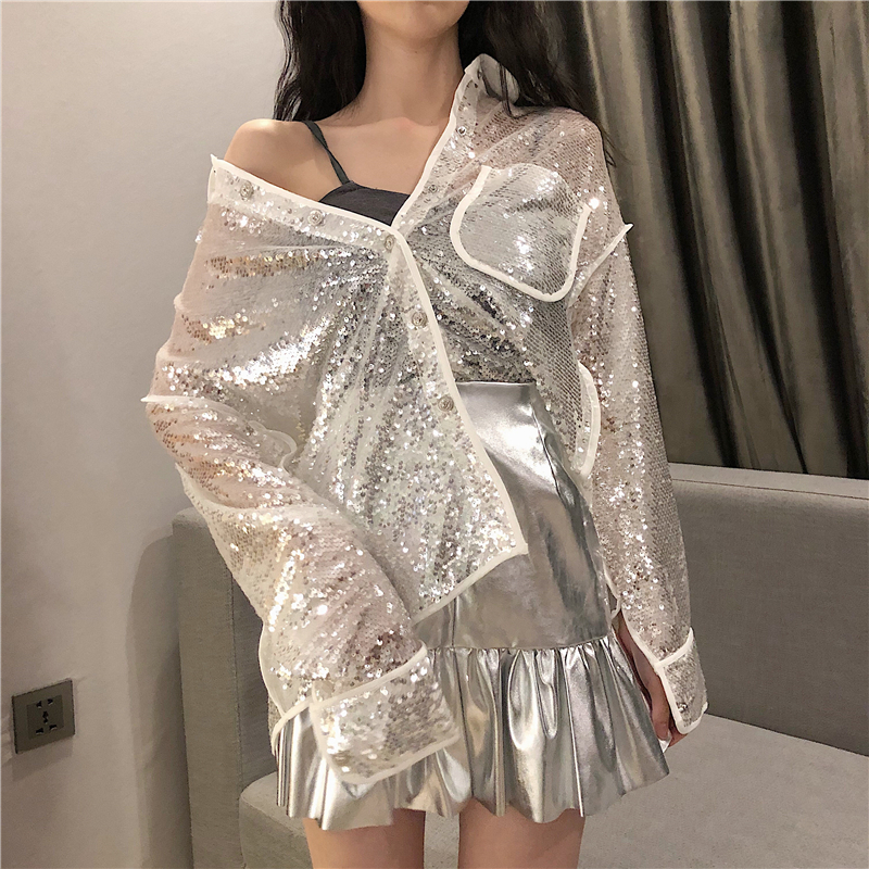 Cheerart Bling Sequin Blouse Long Sleeve Shirt Women Loose Glitter Blouse White Black See Through Top Clubwear Clothes