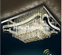 Free Shipping Modern L90cm W70cm 90 265V Art Decora Floral LED Crystal Ceiling Lamp Luster LED Crystal Lights Remote Controller
