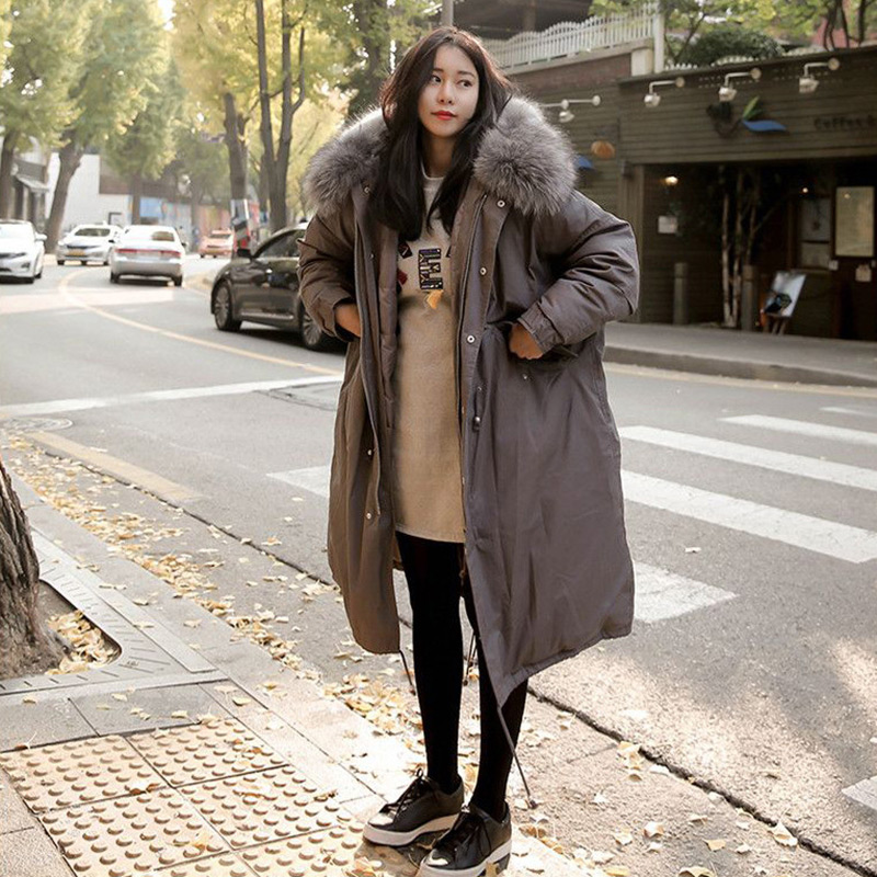 Oversized Winter Coat for Pregnant Women Large Fur Collar Hooded Long Jacket Thicken Warm Korean Down Parkas 2017 Large Parka flamingo patch zipper swing dress