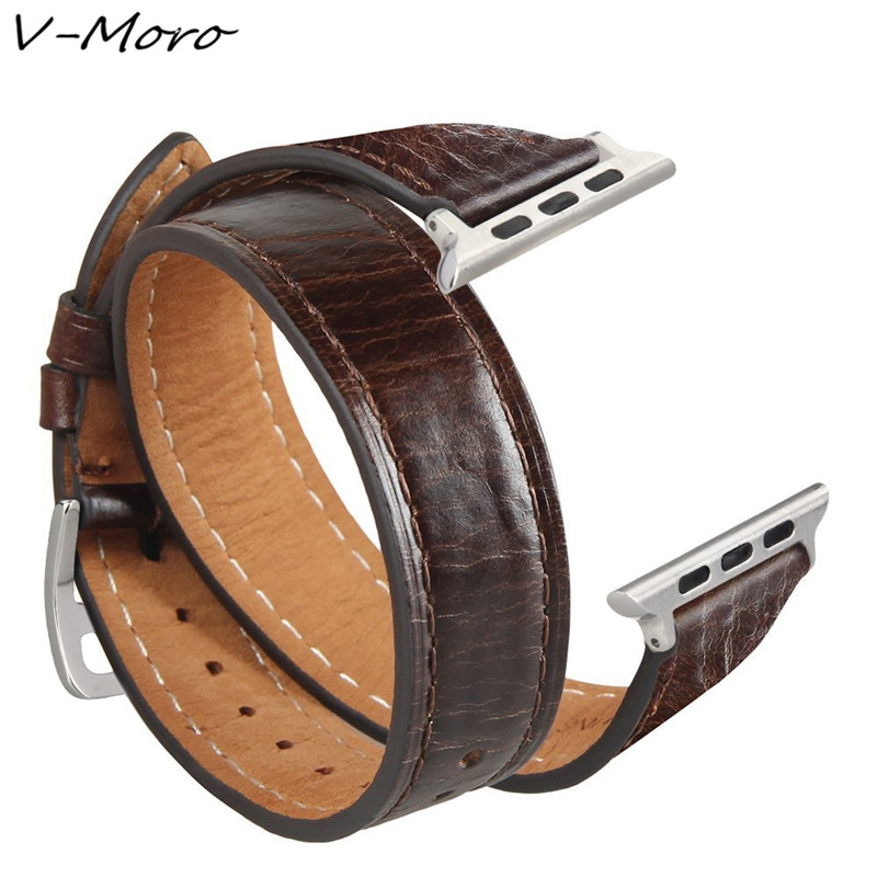 V-MORO For Apple Watch Bands 38mm iWatch Crazy Horse Wrist Straps For Apple Watch Series 3 Series 1 Series 2 Sport Nike+ Straps пуловер tony moro tony moro to046emobl41