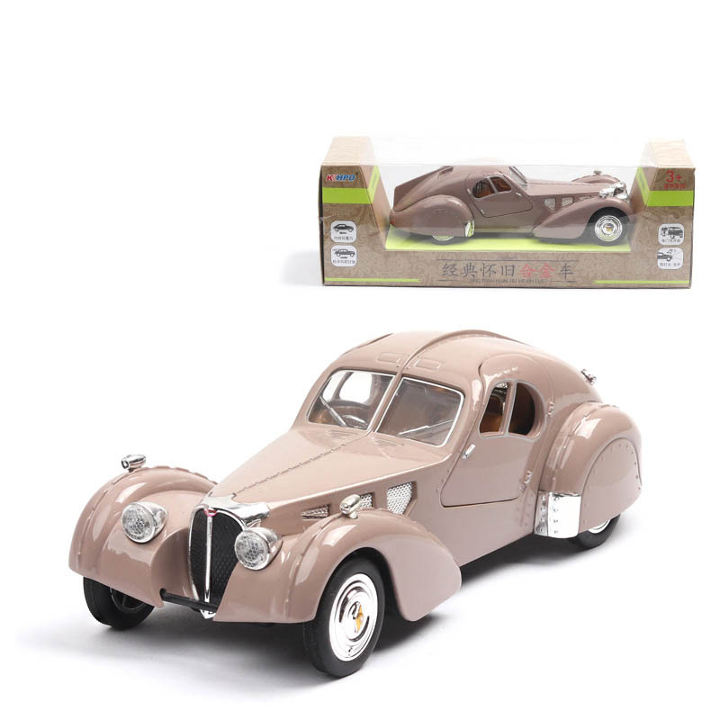 1/28 Vintage Light Music Bugatti Roadster Cars Retro Alloy Pull Back Toy Die Cast Metal Toys Car