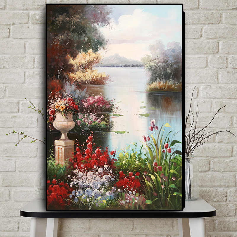 Abstract Garden Landscape Oil Painting on Canvas Posters and Prints Scandinavian on The Wall Art Picture for Living Room Decor