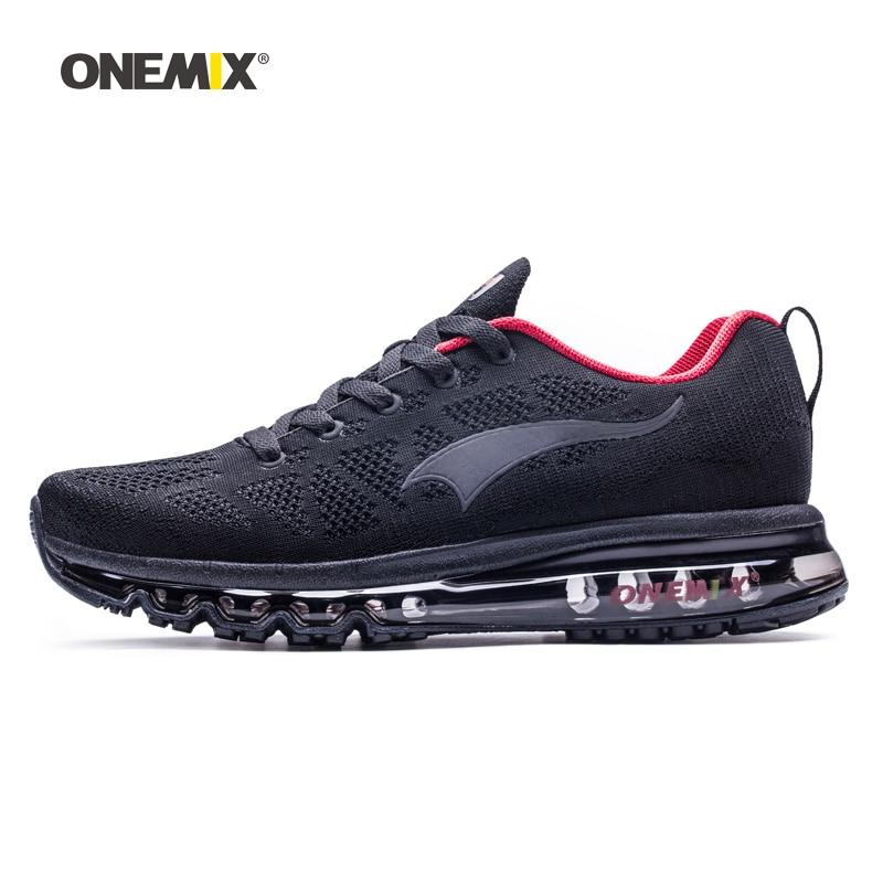 ONEMIX Homme Chaussures de Course Pour Les Hommes de Nice Zapatillas Athletic Trainers Noir Rouge Sport Coussin D'air de Jogging En Plein Air de Marche Sneakers