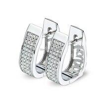 Wholesale GNE1011 Genuine 925 Sterling Silver Jewelry New 2016 fashion Micro Pave AAA+ Zircon hoop Earrings For Women 6.83g