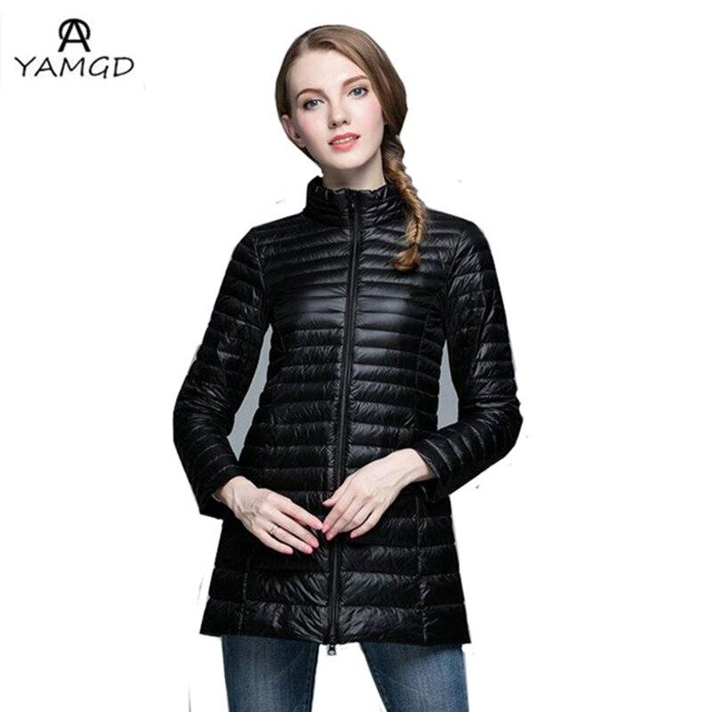 Yüksek kalite bayanlar moda Casual Ultralight Aşağı Ceket Kadınlar Kış Ceket kadın Aşağı Ceketler Uzun Ince Aşağı Ceket Palto