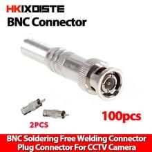 100pcs CCTV BNC Connector Solder Less Twist Spring BNC Connector Jack for Surveillance Accessories