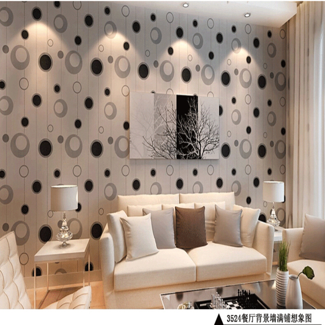 Platinum Modern Minimalist Living Room TV Backdrop Green Wallpaper Stylish Restaurant Bedroom Black And White Circles