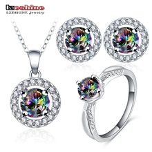 LZESHINE Trendy Bridal Jewelry Set Stud Earrings Pendant Ring For Women With Color Crystal Fashion Statement Jewelry Set Bijoux