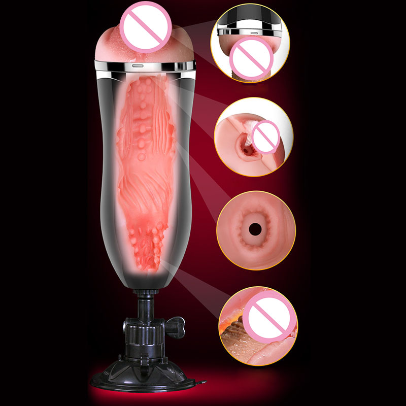 Electric Real Voice Handsfree Aircraft Cup Male Masturbation Pocket, Pussy Sucker Sex Machine Realistic Vaginal Sex Toys For Men 10 speeds handsfree auto telescopic rotating aircraft cup voice vibrating masturbation cup masturbator sex products for men male