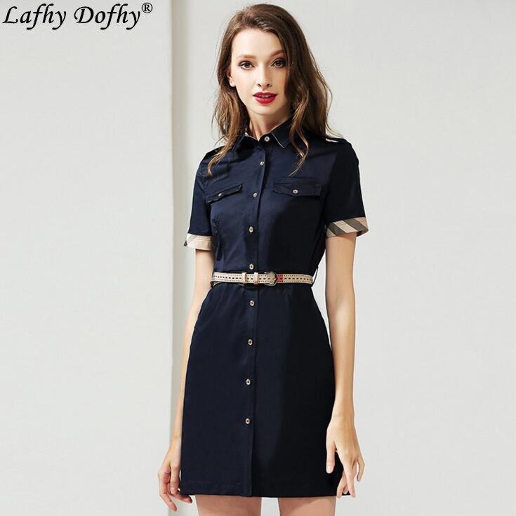 Robe d'été nouveau navettage revers manches courtes slim fit carrière couleur unie chemise à boutonnage taille moyenne un mot robe 238