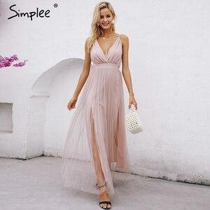 Image 5 - Simplee vestido de renda rosa feminino, malha, elegante, decote em v, para noite, maxi, para outono, inverno, sexy, longo, vestido de festa festa