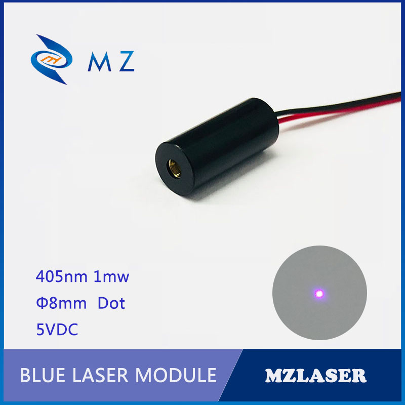 5VDC Standard 8mm 405nm1mw Security Level Class II Industrial APC Drives Bule Dot Laser Module